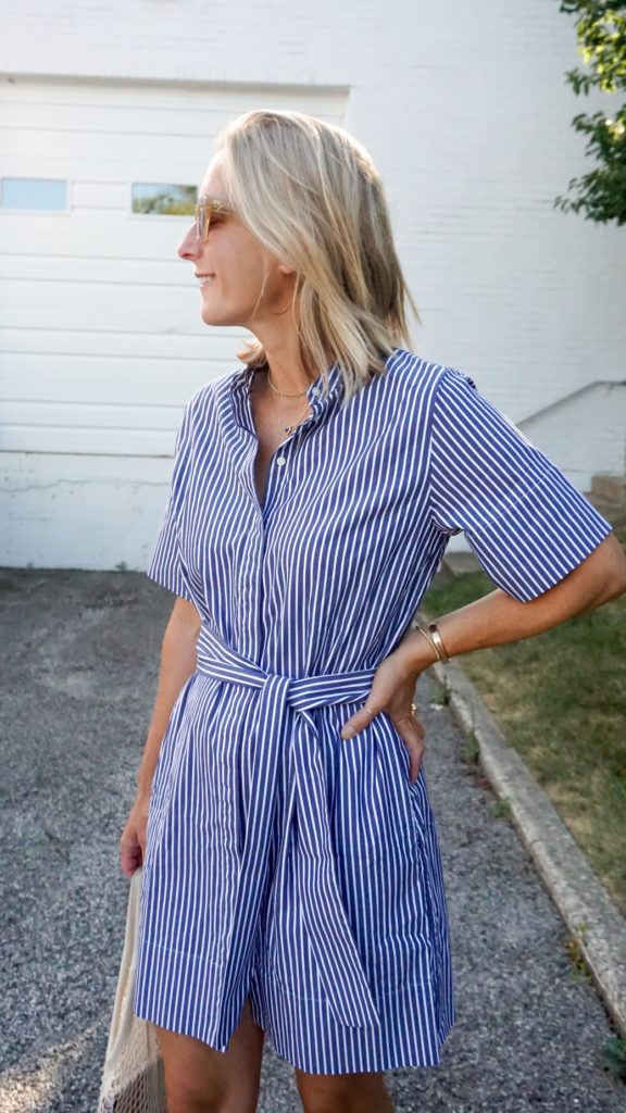 profile shot of an everlane shirtdress