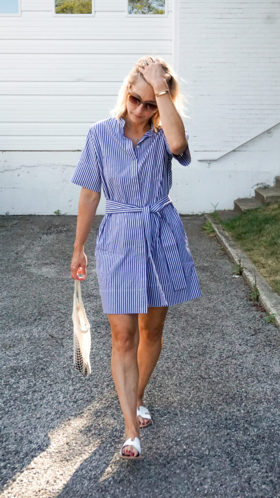 casual considerations elevate this shirtdress into a classic