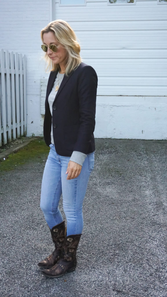 navy blazer and denim