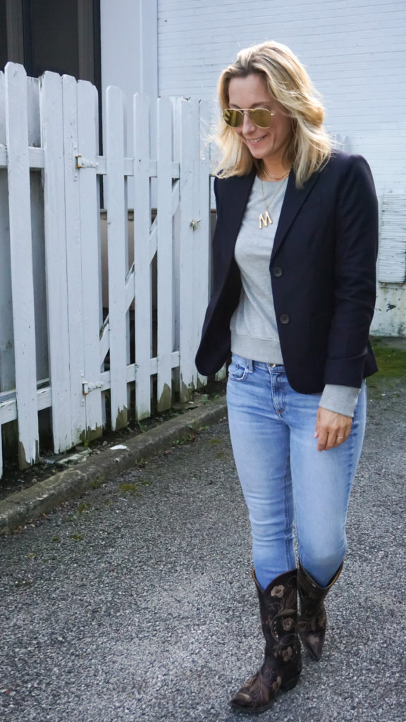 gray sweatshirt and blazer style