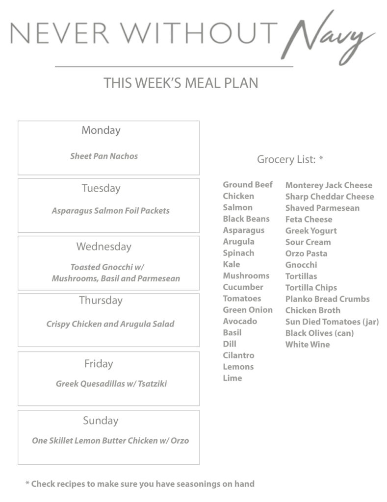 a grocery list for never without navy that lays out weekly meal plan ideas