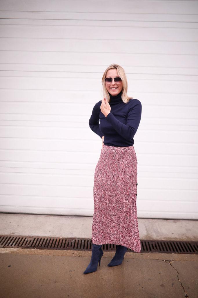 turtleneck and long skirt