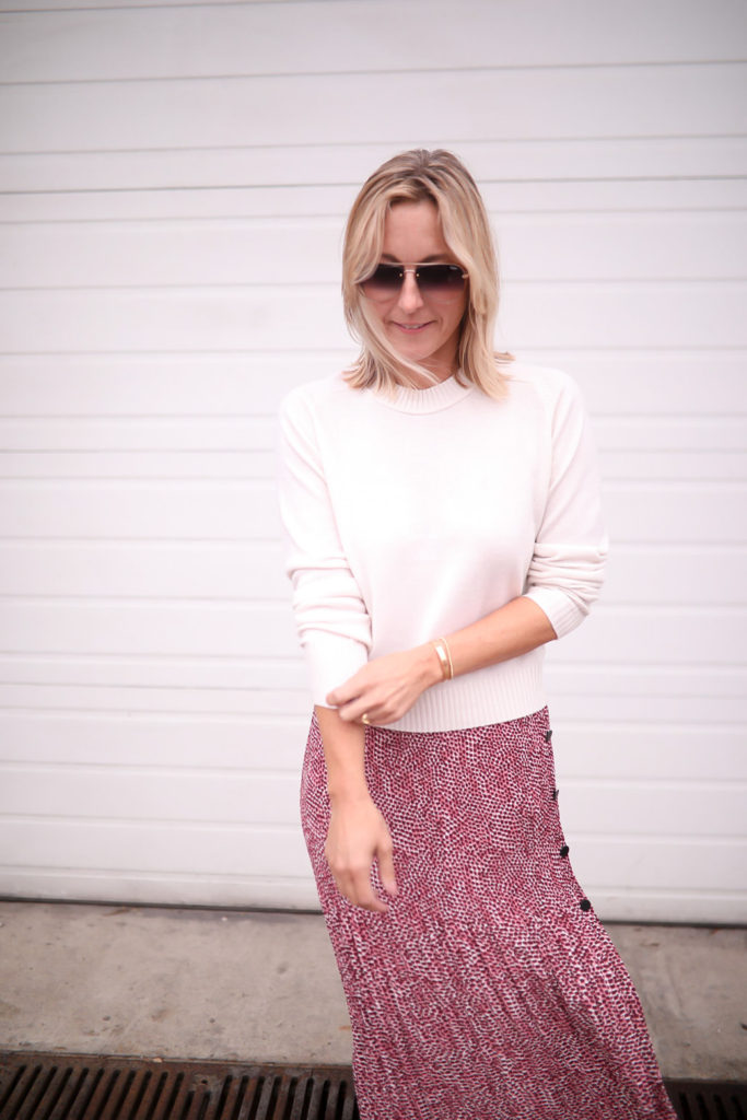 longue jupe et pull