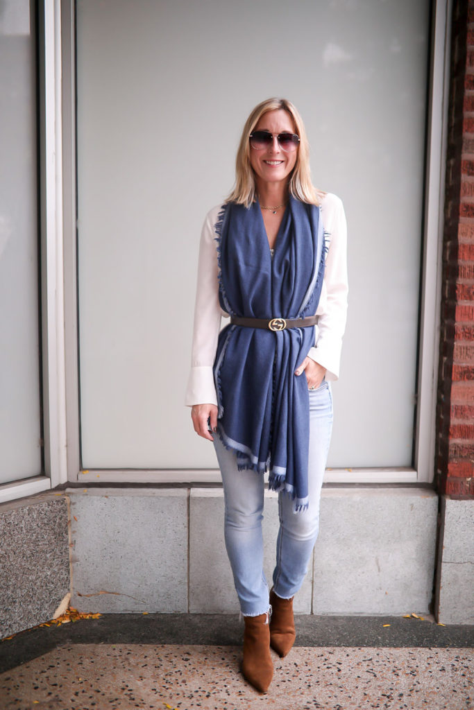 How to Wear A Wrap Scarf - belted drape