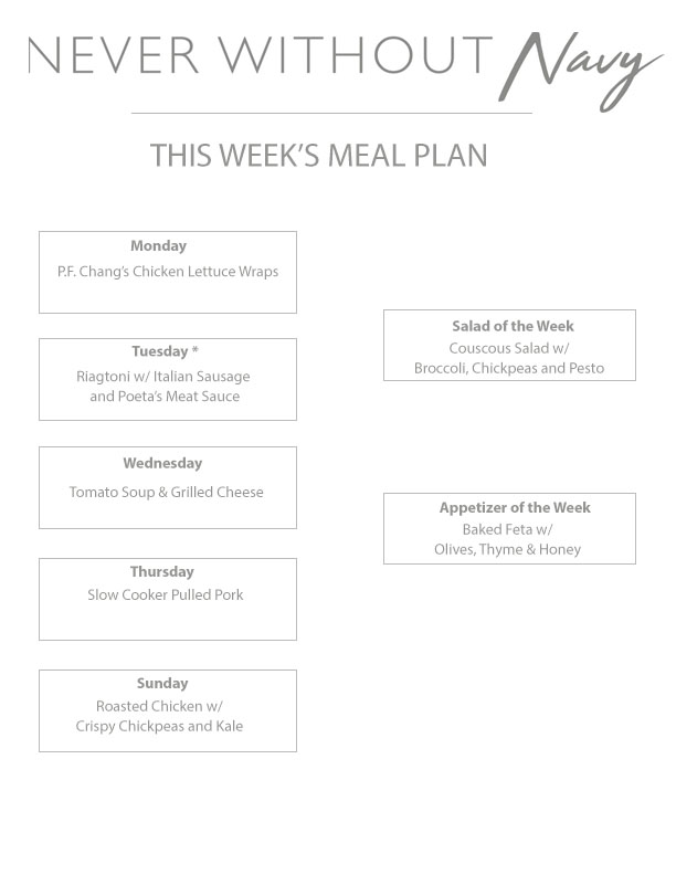 Never Without Navy Weekly Meal Plan 3
