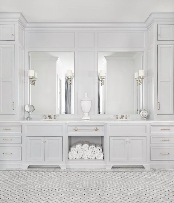 Intricate built-in cabinets and lighting