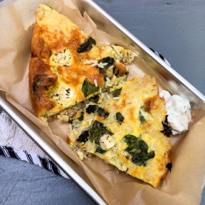 Rice, Zucchini and Feta Frittata with Fresh Summer Herbs