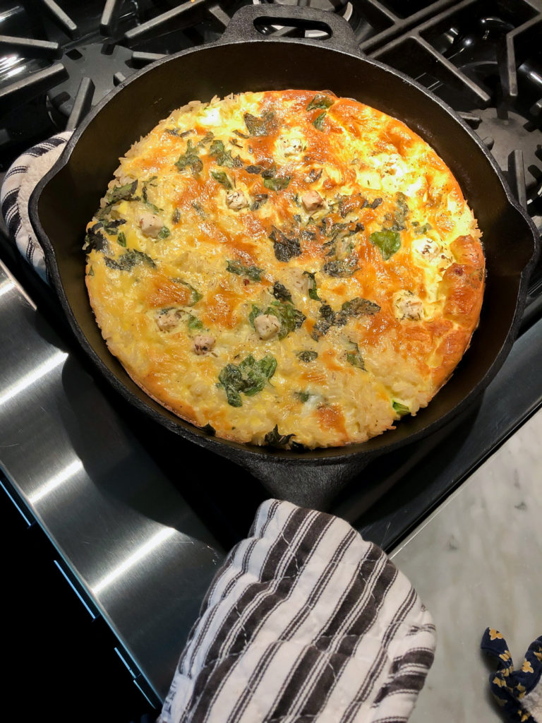 Rice Zucchini and Feta Frittata