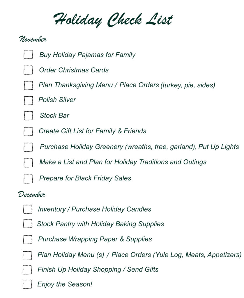 Holiday Season Check List