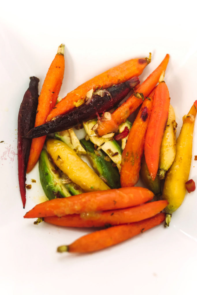 Roast Carrot and Avocados