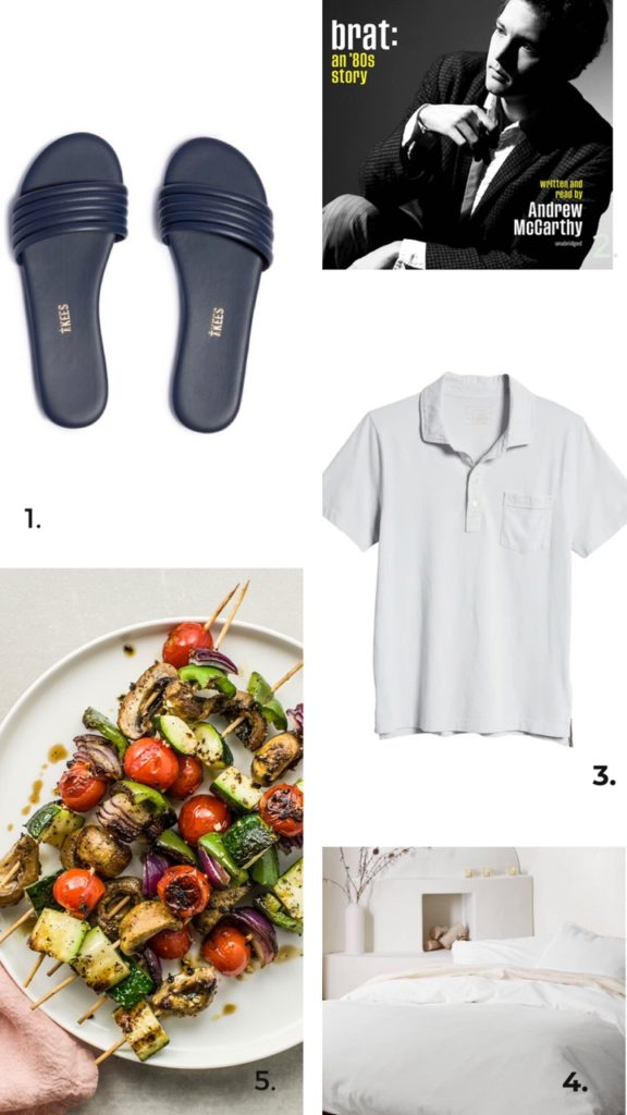 collage of food, slippers, and clothes for Five Favorites june 2021
