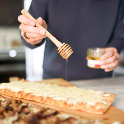 Flatbreads: Four Cheese & Truffle Honey and Caramelized Onions, Sausage & Manchego Cheese